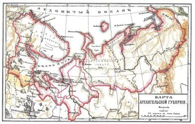 Arkangelin kuvernementin kartta